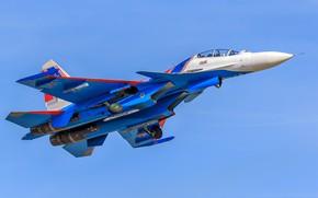 """Wallpaper aerobatic team, multi-role fighter, Su-30CM, Su-30SM, """"Russian Knights"""""""