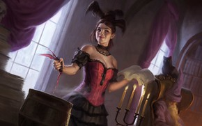 Picture cat, girl, blood, book, bat, witch, Seletar