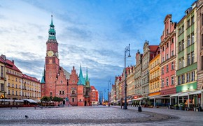 Picture home, Poland, town hall, Wroclaw, Market square