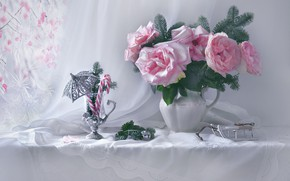Picture flowers, branches, glass, roses, frost, candy, pitcher, still life, needles, sled, napkin, Valentina Fencing