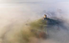 Picture fog, England, hill, ruins, Somerset, Burrow Mump, Церковь Святого Михаила, Берроубридж