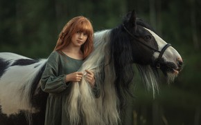 Picture look, face, nature, background, mood, horse, horse, girl, redhead