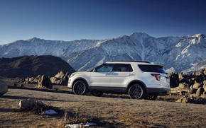 Picture road, white, mountains, stones, Ford, Sport, SUV, Explorer, 2017, XLT