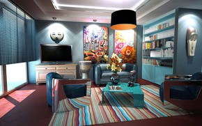 Picture light, flowers, room, sofa, books, interior, carpet, TV, window, chairs, pictures, wardrobe, table, blinds