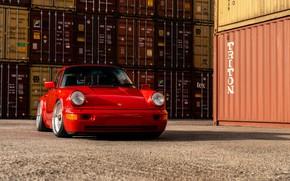 Picture car, Porsche, red, Porsche 964