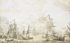 Picture figure, ink, Willem van de Velde I, Виллем ван де Велде Старший, Эпизод из битвы …