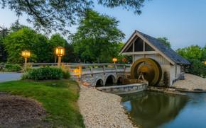 Picture landscape, bridge, river, mill