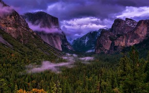 Picture forest, the sky, Park, rocks, the evening, CA, USA, Yosemite, Yosemite National Park