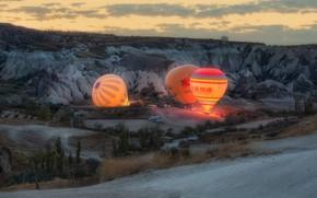 Picture landscape, nature, balloons, rocks, morning, Turkey, Cappadocia, Andrey Chabrov, tuff