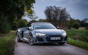 Picture road, car, machine, trees, Audi, lights, sports car, convertible, sportcar, wheel, Audi R8 Spyder, perfomance, …