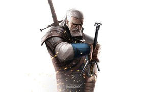 Picture Minimalism, The game, Background, Fantasy, Art, Art, The Witcher, Geralt, Witcher, Geralt of Rivia, Fan …