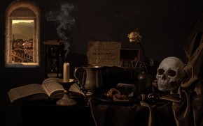 Picture style, notes, the dark background, table, smoke, rose, skull, candle, window, dishes, fabric, box, still …
