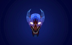 Picture eyes, glare, background, head, mouth, fangs, Dota 2, Night Stalker