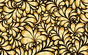 Picture flowers, pattern, black, gold, ornament