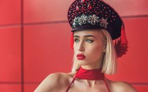 Picture girl, face, style, haircut, portrait, makeup, rhinestones, shoulders, cap, Anastasia Salora