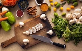 Picture greens, mushrooms, knife, Board, pepper, vegetables, lemons, spices