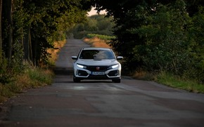 Picture road, white, trees, Honda, hatchback, the five-door, 2019, Civic Type R, 5th gen, FK8