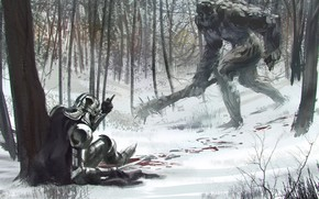 Picture blood, fantasy, forest, soldier, armor, trees, club, snow, weapons, troll, artwork, fuck off, fantasy art, …