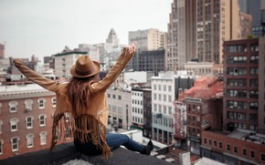 Picture girl, the city, pose, mood, building, New York, hat, hands, jacket, Sergei Goncharov