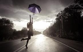 Picture road, girl, umbrella