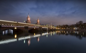 Picture bridge, the city, river, the evening, Germany, Berlin, Spree, Oberbaum