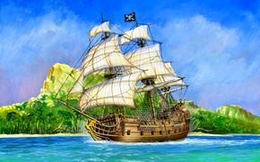 "Picture ship, Pirate, ""Black Swan"", Galleon, 18 pounder gun, broadside contains 16 cannonballs"