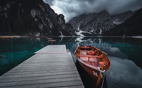 Picture boat, mountains, nature, pierce, lake, Alessandro laurito