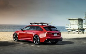 Picture sand, beach, red, Audi, Parking, universal, RS 6, 2020, 2019, V8 Twin-Turbo, RS6 Avant