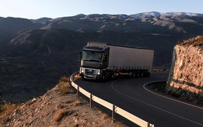 Picture road, mountains, black, the fence, truck, Renault, Magnum, tractor, 4x2, the trailer, Renault Trucks