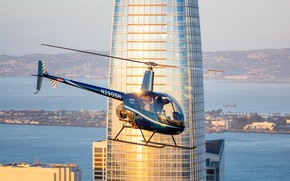 Picture the building, helicopter, skyscraper, Bell 206L3 Long Ranger
