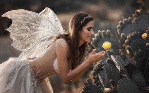 Picture flower, girl, wings, dress, brunette, fairy, cacti, Кузнецова Виктория
