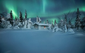Picture winter, snow, trees, hut, Northern lights, the snow, hut, Finland, Andrey Bazanov