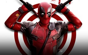 Picture hero, costume, swords, Deadpool