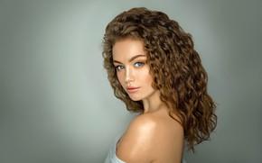 Wallpaper look, face, background, hair, portrait, curls, shoulder, Alina, Gregory Levin