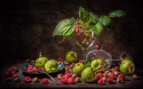 Picture raspberry, apples, glass, hazelnuts