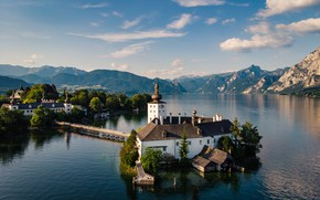 Picture mountains, island, Austria, Church, pond, lake Traunsee