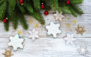 Picture decoration, New Year, Christmas, christmas, wood, merry, cookies, snowflakes, decoration, gingerbread, gingerbread, fir tree, fir-tree …