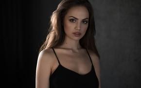 Picture brown eyes, woman, face, brunette, black dress, portrait, looking at the viewer, Zemfira Ismailova, Zemfira …