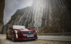 Picture mountains, tower, cadillac, moutain, cts-v, ingushetia, cadillac cts, cadillac cts-v