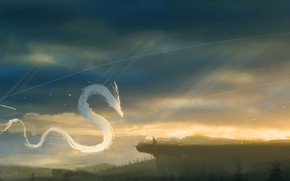 Picture the sky, nature, dragon, people, fantasy