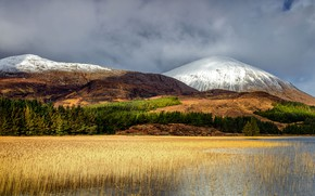 Picture autumn, forest, the sky, grass, clouds, light, snow, mountains, lake, pond, hills, shore, vegetation, tops, ...