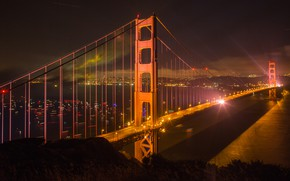 Picture night, bridge, the city, lights, river, San Francisco, USA, megapolis, Bank, the night sky, boats