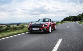 Picture road, Roadster, spider, Abarth, black and red, 124 Spider, 2019, Rally Tribute