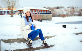 Picture winter, snow, pose, model, hat, portrait, jeans, makeup, shoes, scarf, hairstyle, brown hair, sitting, mittens, …