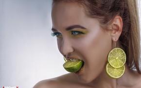 Wallpaper look, face, style, background, portrait, earrings, makeup, lime, citrus, slices, Daria Bliznakova, Alexander Drobkov-Light