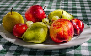 Picture table, apples, plate, fruit, pear, tablecloth