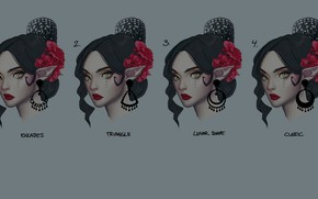 Picture girl, flowers, face, League of Legends