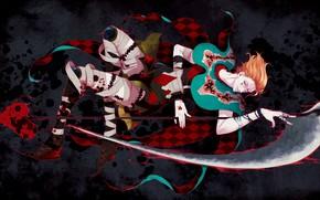 Picture weapons, blood, blade, art, braid, guy, hunter, Hunter x Hunter, Hisoka