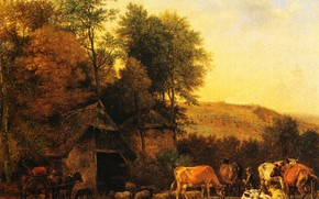 Picture picture, Paulus Potter, Landscape with Cows and Sheep, Paulus Pieterszoon Potter
