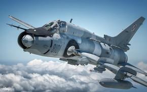 Picture Fighter-bomber, Pilot, Cockpit, Su-22, Sukhoi Su-22M4, Polish air force, Su-22M4, R-73, PTB, HESJA Air-Art Photography